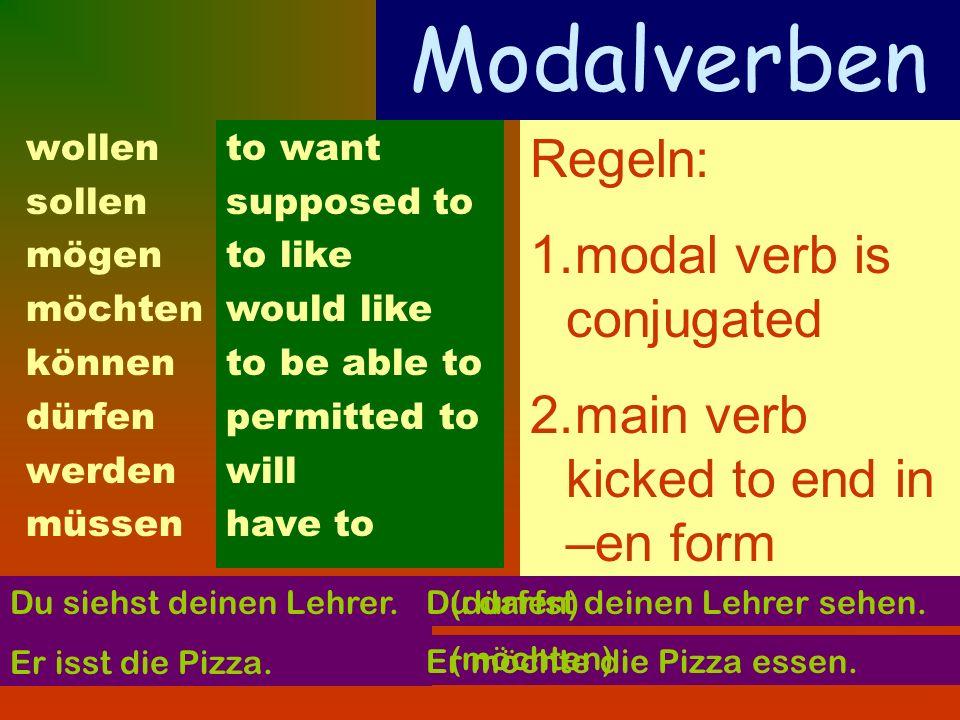 Modalverben wollen sollen mögen möchten können dürfen werden müssen to want supposed to to like would like to be able to permitted to will have to Reg