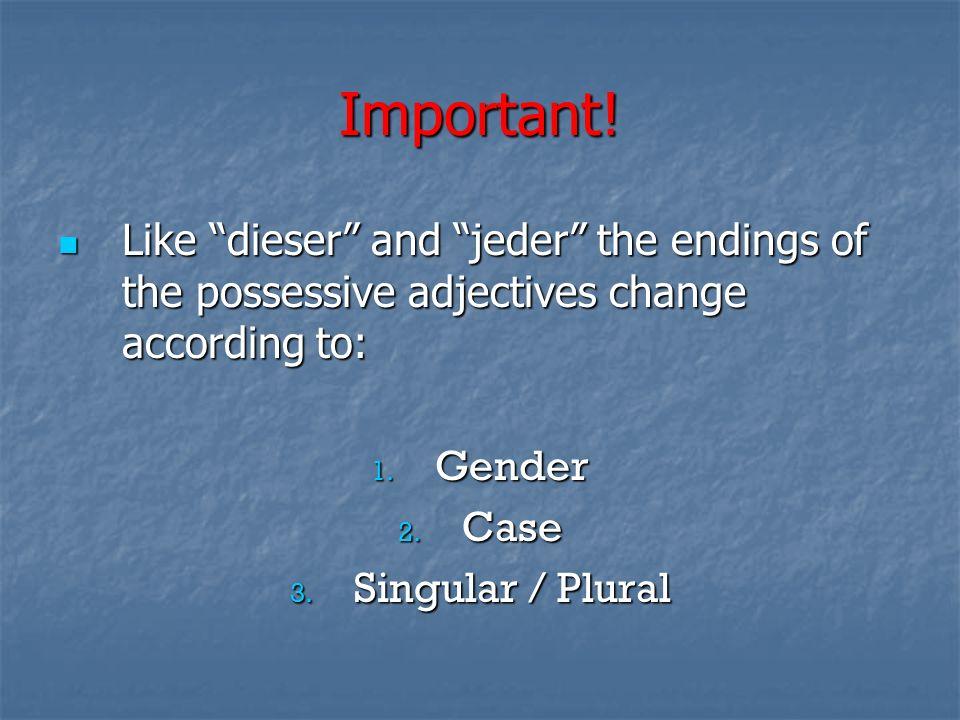 Nominativ - Subjekt 1.Circle the possessive adjectives.