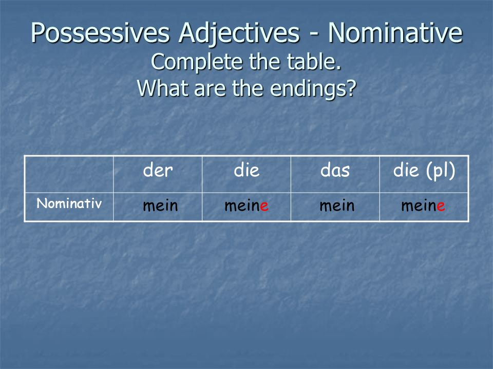 Possessives Adjectives - Nominative Complete the table. What are the endings? derdiedasdie (pl) Nominativ meine mein