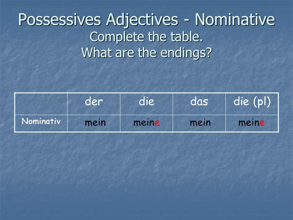 Akkusativ – Direkt Objekt 1.Circle the possessive adjectives.
