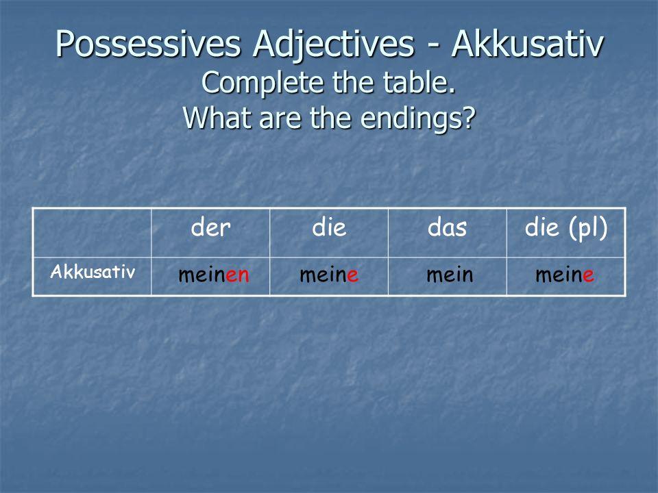 Dativ – Indirekt Objekt 1.Circle the possessive adjectives.