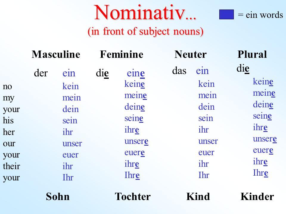 singular ich-I du-you er-he sie-she es-it (subjekt pronomen) Nominativ plural wir-we ihr-youall sie- they Sie-you (formal) Pronomen...
