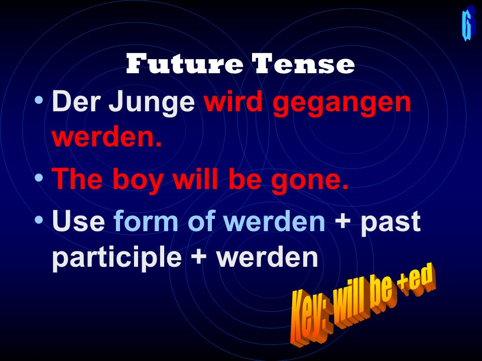 Past: Imperfect Change the last sentence. The boy was gone. Der Junge wurde gegangen. Use wurde + past participle