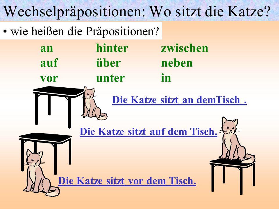 Wechselpräpositionen: Wo sitzt die Katze? wie heißen die Präpositionen? anhinter zwischen aufüber neben vorunter in Die Katze sitzt an demTisch. Die K