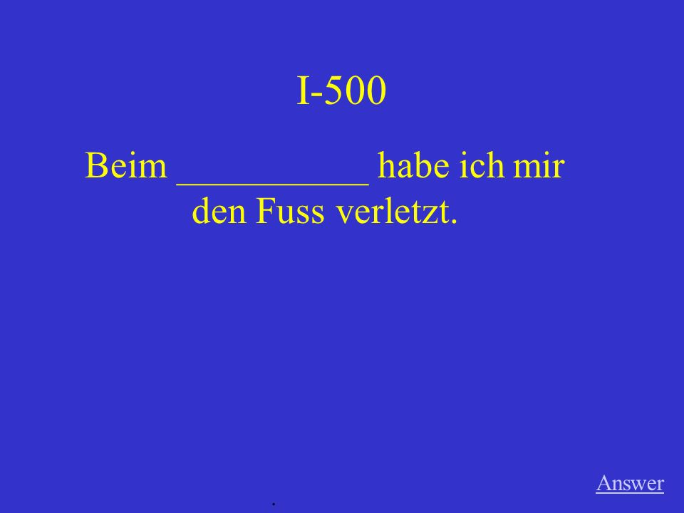 I-400 Answer. Man braucht den Mund _______ _____________ (for speaking).