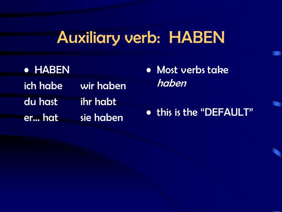 Auxiliary verb: HABEN HABEN ich habewir haben du hastihr habt er… hatsie haben Most verbs take haben this is the DEFAULT