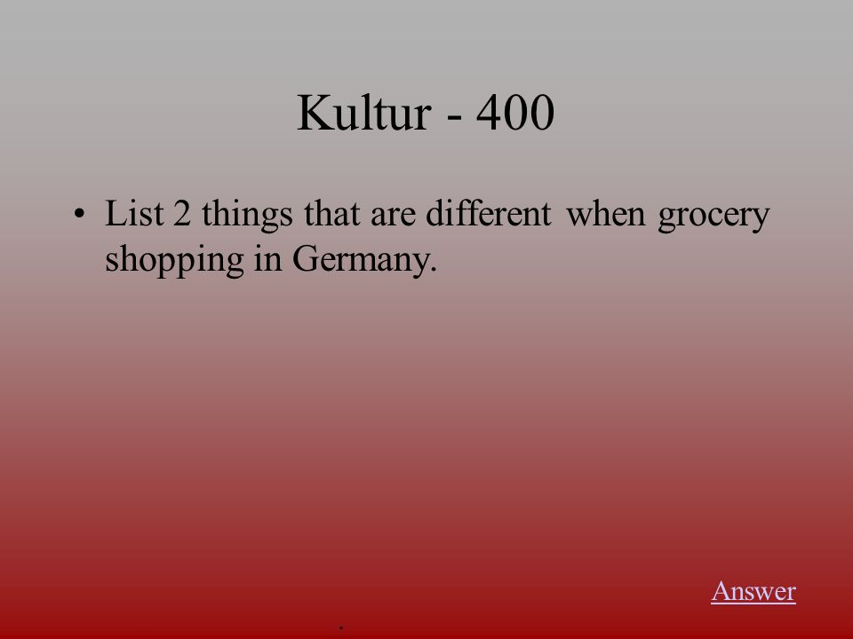 Kultur - 300 What is a Reformhaus? Answer.