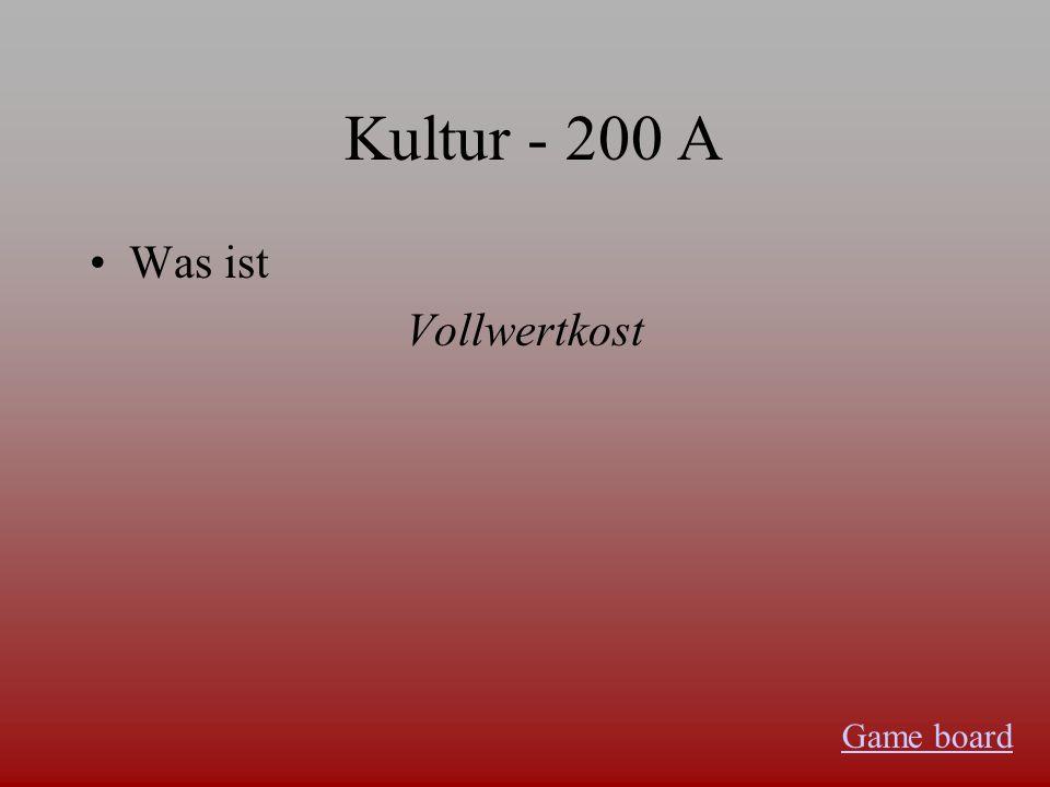 Kultur - 100 A Was ist der Bioladen Game board