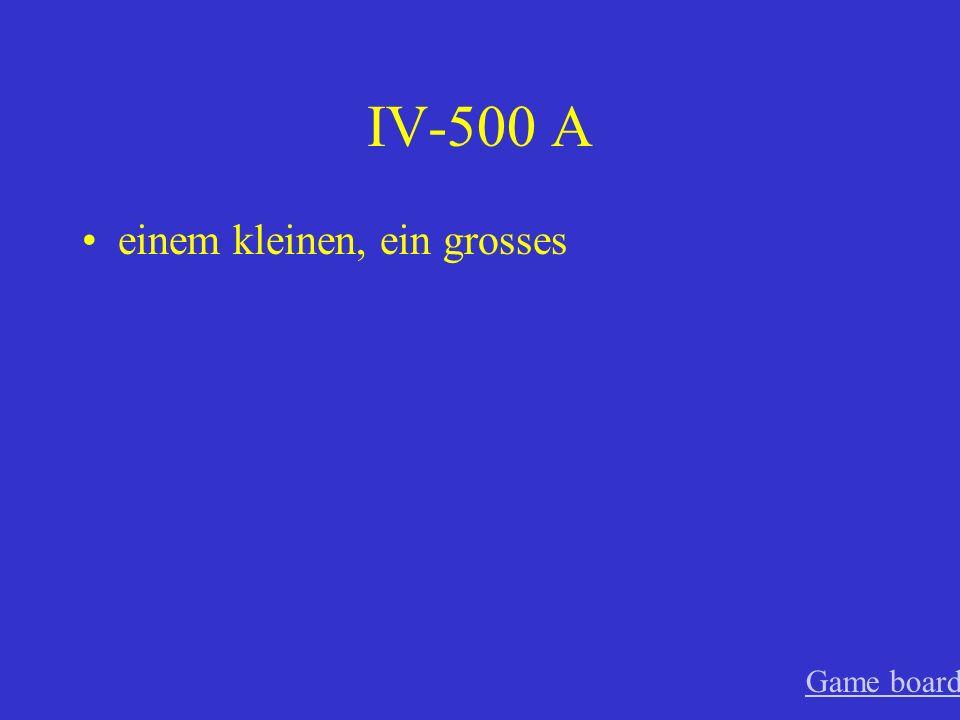 IV-400 A eine gute, einen neuen Game board