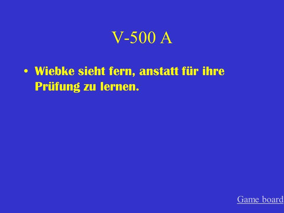 V-400 A Er spricht oft ohne zu denken. Game board