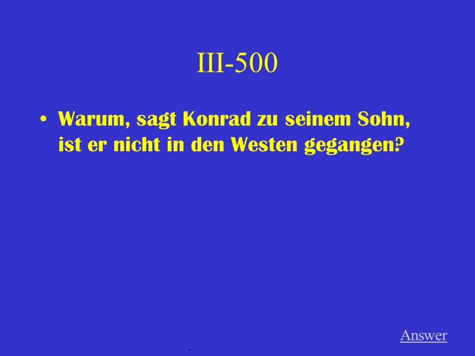 III-400 Was meint die Frau, wenn sie sagt: Wenn nach dreissig Jahren der Käfig aufgemacht wird, kann man nicht mehr fliegen..