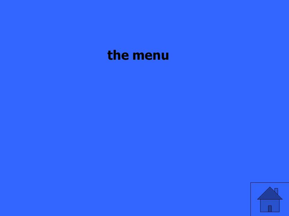 die Speisekarte auf Englisch?