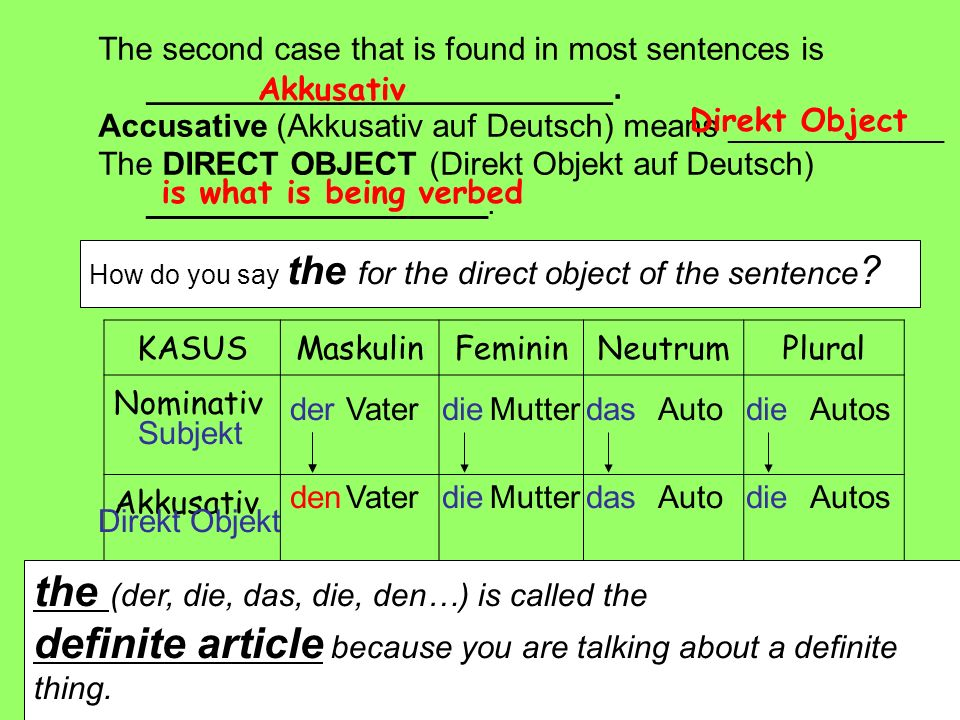 The second case that is found in most sentences is __________________________. Accusative (Akkusativ auf Deutsch) means ____________ The DIRECT OBJECT