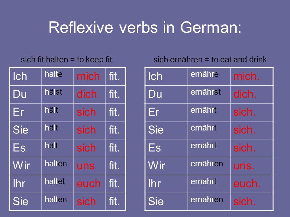 Reflexive verbs in German: Ich halte michfit. Du hälst dichfit. Er hälthält sichfit. Sie hälthält sichfit. Es hälthält sichfit. Wir halten unsfit. Ihr