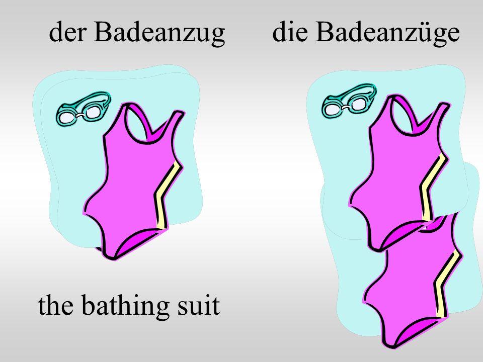 der Badeanzug the bathing suit die Badeanzüge