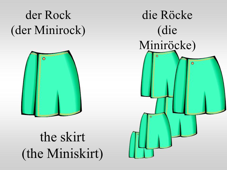 der Rock (der Minirock) the skirt (the Miniskirt) die Röcke (die Miniröcke)