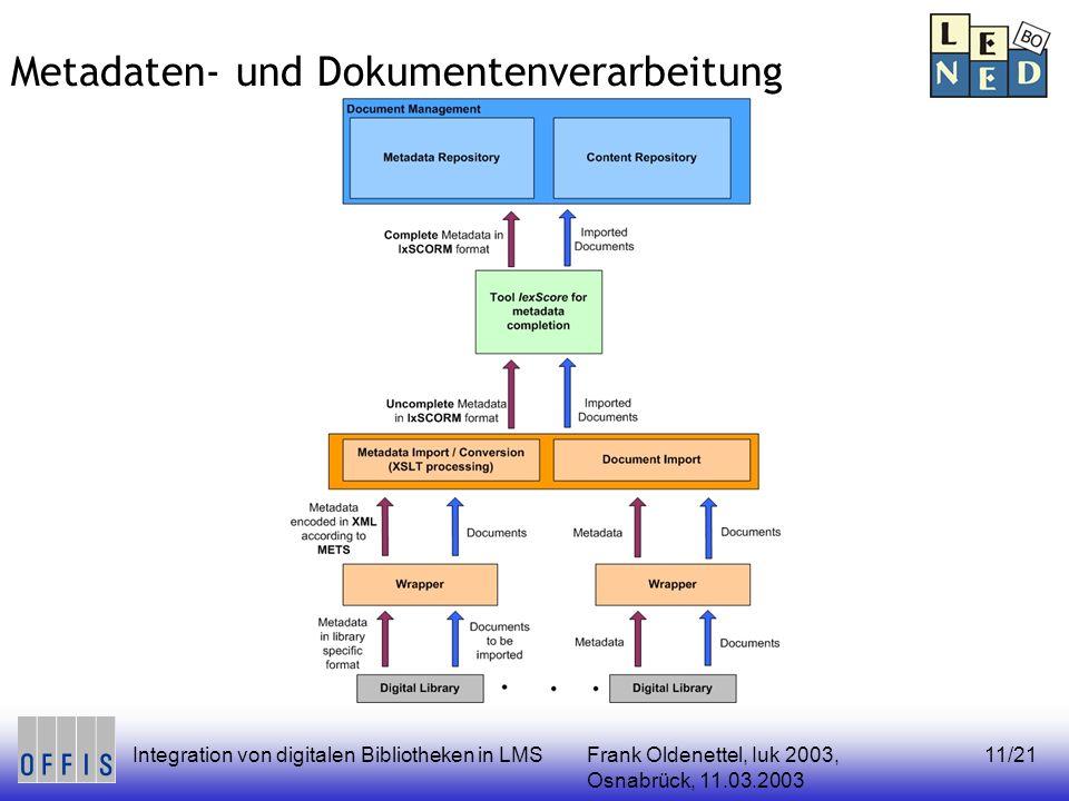 Frank Oldenettel, Iuk 2003, Osnabrück, 11.03.2003 Integration von digitalen Bibliotheken in LMS11/21 Metadaten- und Dokumentenverarbeitung