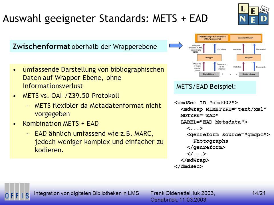 Frank Oldenettel, Iuk 2003, Osnabrück, 11.03.2003 Integration von digitalen Bibliotheken in LMS14/21 Auswahl geeigneter Standards: METS + EAD Zwischen