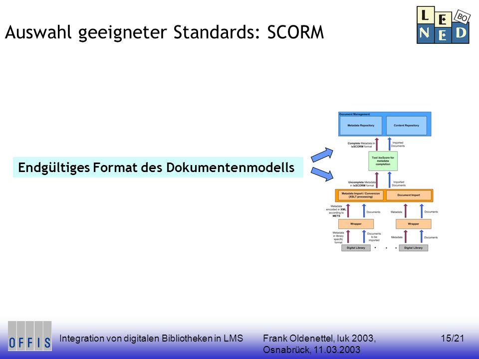 Frank Oldenettel, Iuk 2003, Osnabrück, 11.03.2003 Integration von digitalen Bibliotheken in LMS15/21 Auswahl geeigneter Standards: SCORM Endgültiges F