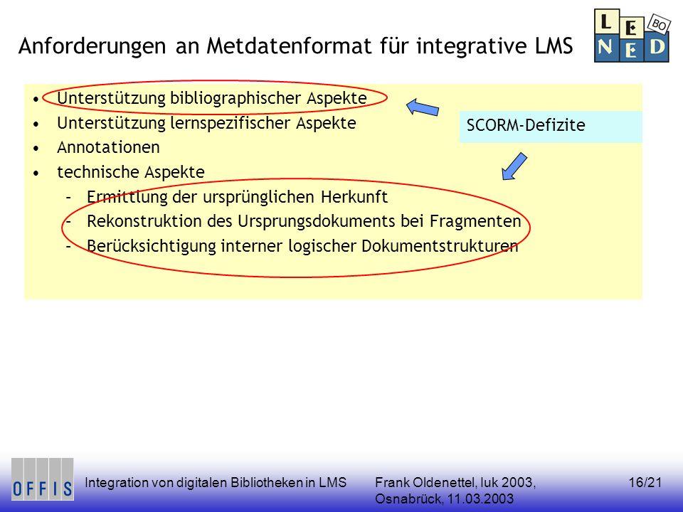 Frank Oldenettel, Iuk 2003, Osnabrück, 11.03.2003 Integration von digitalen Bibliotheken in LMS16/21 Anforderungen an Metdatenformat für integrative L