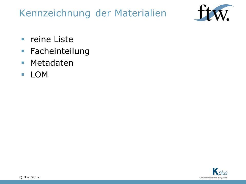 © ftw. 2002 Kennzeichnung der Materialien reine Liste Facheinteilung Metadaten LOM
