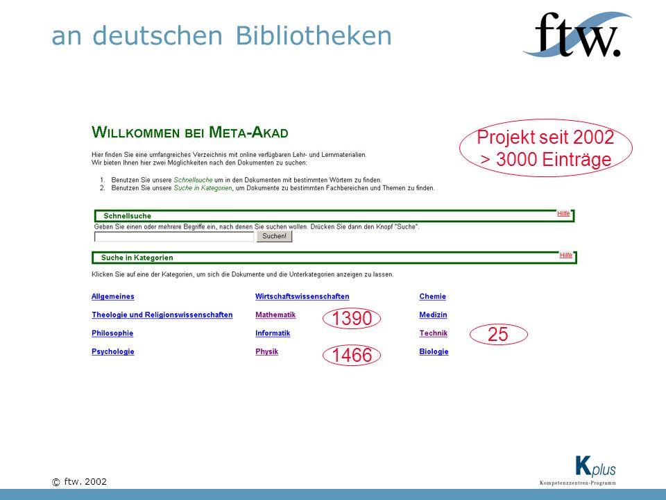 © ftw. 2002 an deutschen Bibliotheken Projekt seit 2002 > 3000 Einträge 1466 1390 25