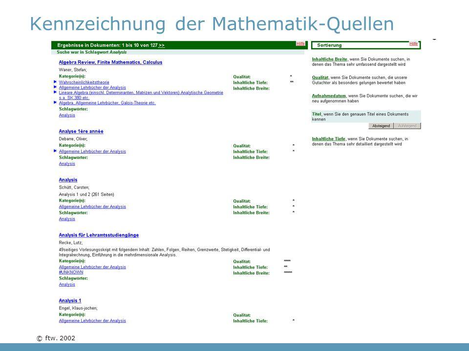 © ftw. 2002 Kennzeichnung der Mathematik-Quellen