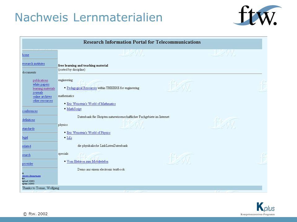 © ftw. 2002 Nachweis Lernmaterialien