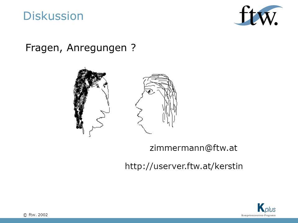 © ftw. 2002 Diskussion Fragen, Anregungen zimmermann@ftw.at http://userver.ftw.at/kerstin