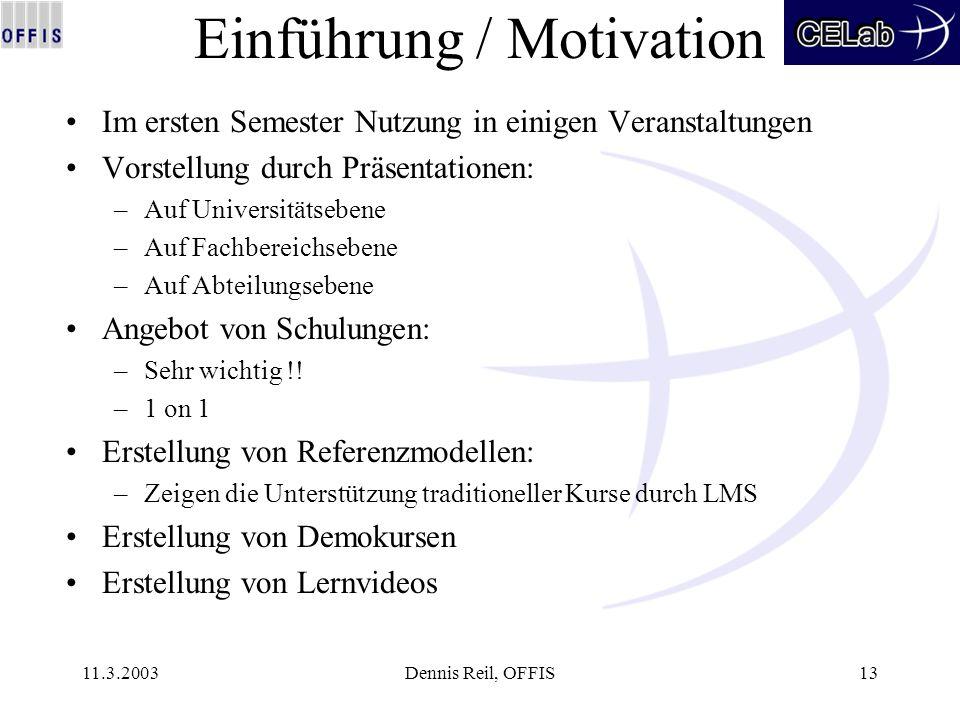 11.3.2003Dennis Reil, OFFIS13 Einführung / Motivation Im ersten Semester Nutzung in einigen Veranstaltungen Vorstellung durch Präsentationen: –Auf Uni