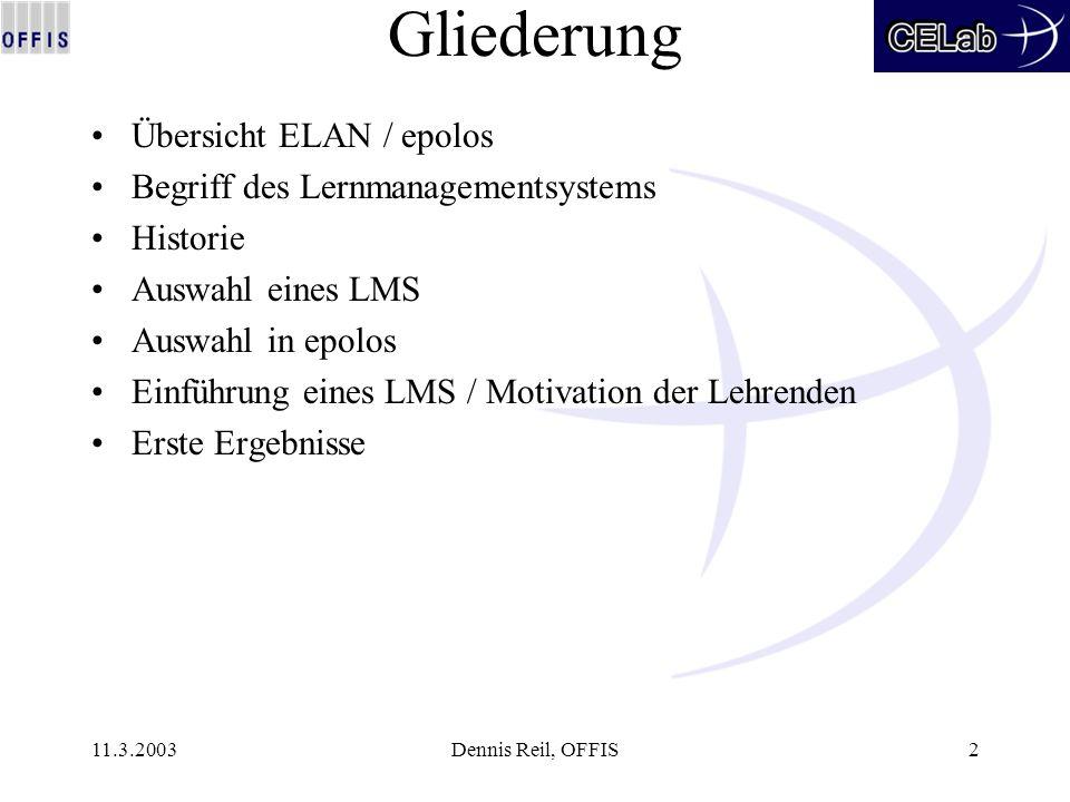 11.3.2003Dennis Reil, OFFIS2 Gliederung Übersicht ELAN / epolos Begriff des Lernmanagementsystems Historie Auswahl eines LMS Auswahl in epolos Einführ
