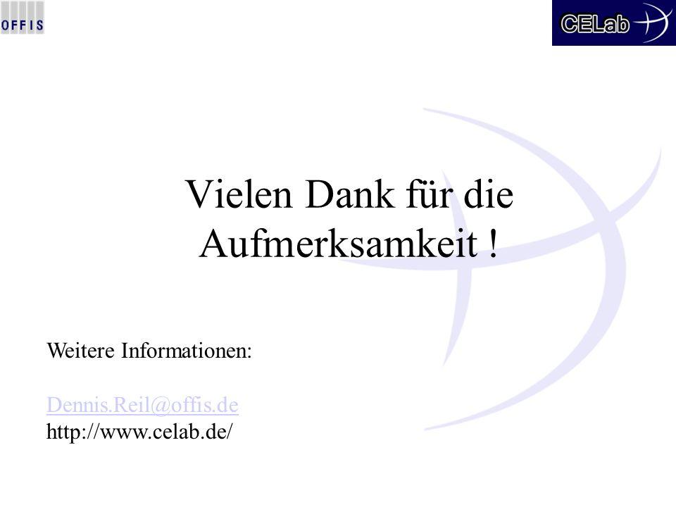 Vielen Dank für die Aufmerksamkeit ! Weitere Informationen: Dennis.Reil@offis.de http://www.celab.de/