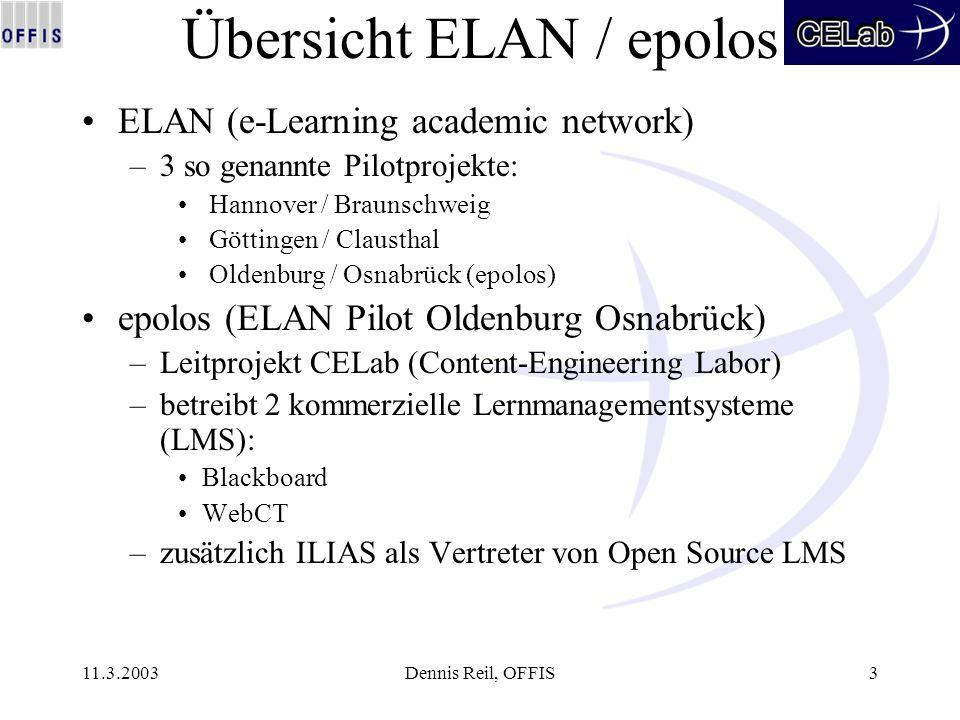 11.3.2003Dennis Reil, OFFIS3 Übersicht ELAN / epolos ELAN (e-Learning academic network) –3 so genannte Pilotprojekte: Hannover / Braunschweig Göttinge