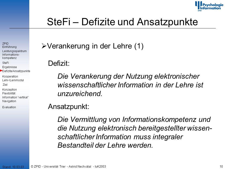 © ZPID - Universität Trier - Astrid Nechvátal - IuK200310 SteFi – Defizite und Ansatzpunkte Verankerung in der Lehre (1) Defizit: Die Verankerung der Nutzung elektronischer wissenschaftlicher Information in der Lehre ist unzureichend.