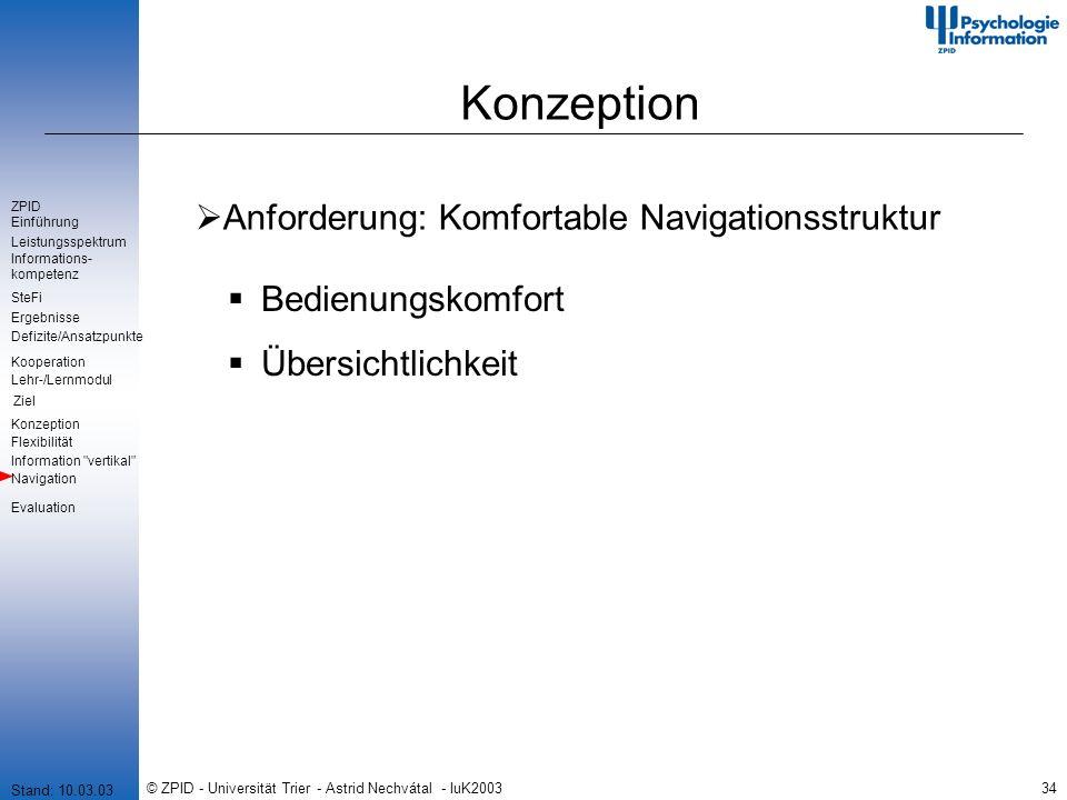 © ZPID - Universität Trier - Astrid Nechvátal - IuK200334 Konzeption Anforderung: Komfortable Navigationsstruktur Bedienungskomfort Übersichtlichkeit