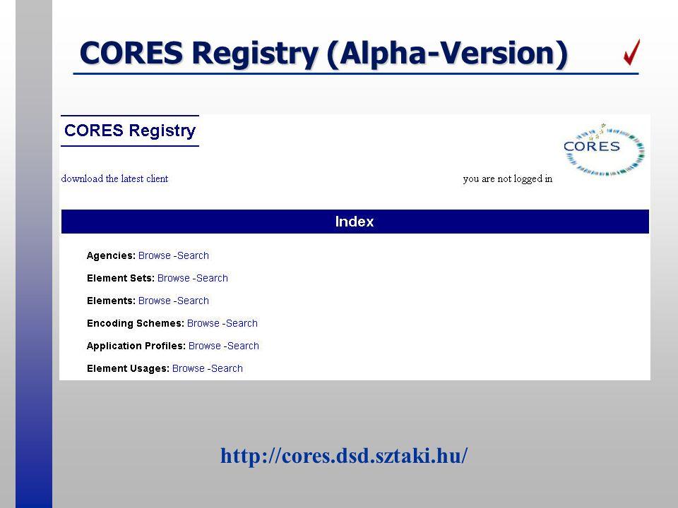 CORES Registry (Alpha-Version) http://cores.dsd.sztaki.hu/