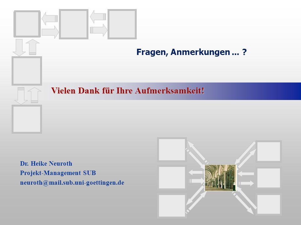 Fragen, Anmerkungen... ? Vielen Dank für Ihre Aufmerksamkeit! Dr. Heike Neuroth Projekt-Management SUB neuroth@mail.sub.uni-goettingen.de