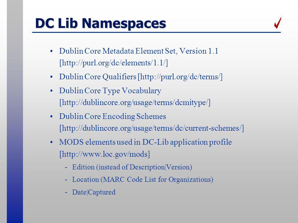 DC Lib Namespaces Dublin Core Metadata Element Set, Version 1.1 [http://purl.org/dc/elements/1.1/] Dublin Core Qualifiers [http://purl.org/dc/terms/]