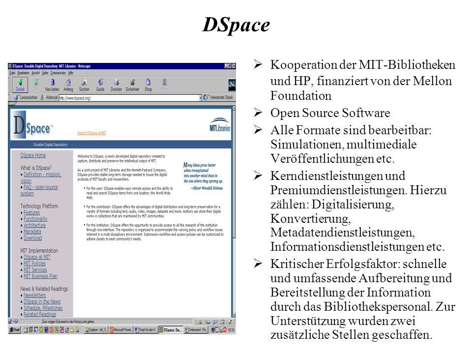 DSpace Kooperation der MIT-Bibliotheken und HP, finanziert von der Mellon Foundation Open Source Software Alle Formate sind bearbeitbar: Simulationen, multimediale Veröffentlichungen etc.