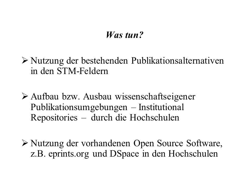 Was tun. Nutzung der bestehenden Publikationsalternativen in den STM-Feldern Aufbau bzw.