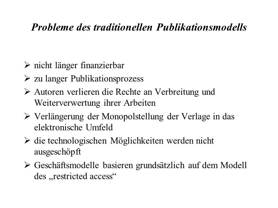 Probleme des traditionellen Publikationsmodells nicht länger finanzierbar zu langer Publikationsprozess Autoren verlieren die Rechte an Verbreitung un