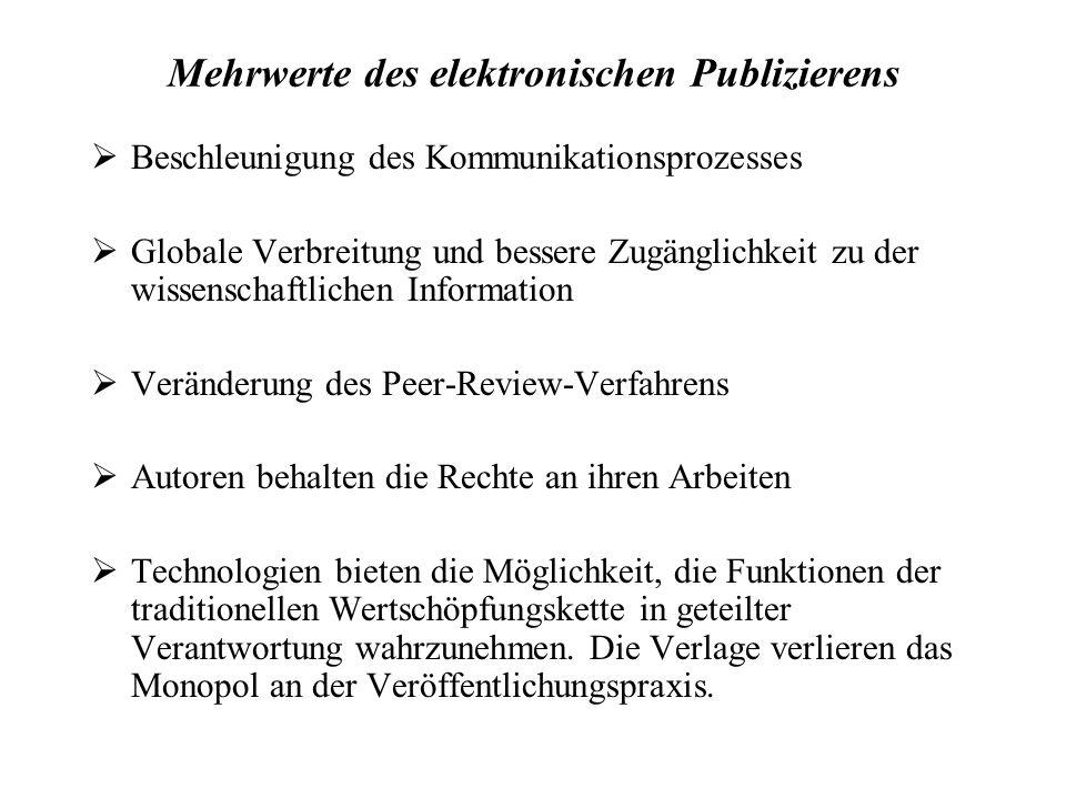 Mit alternativen Publikationsformen ist gemeint, dass...