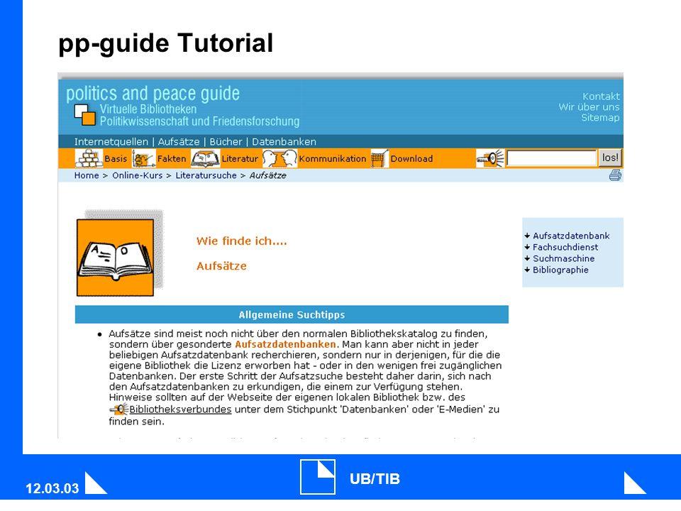 12.03.03 UB/TIB pp-guide Tutorial