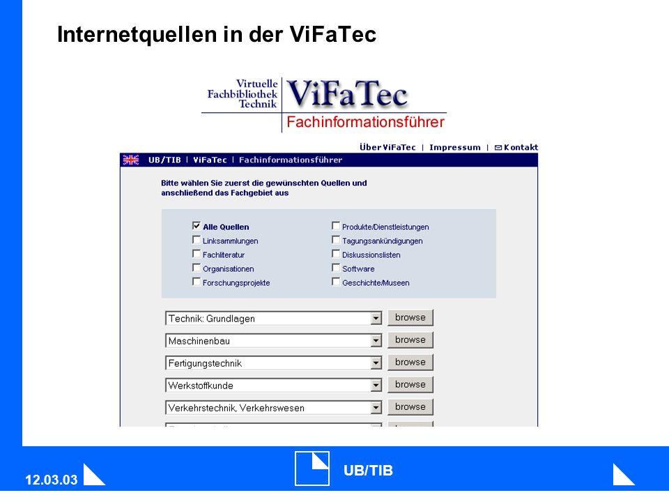 12.03.03 UB/TIB Internetquellen in der ViFaTec