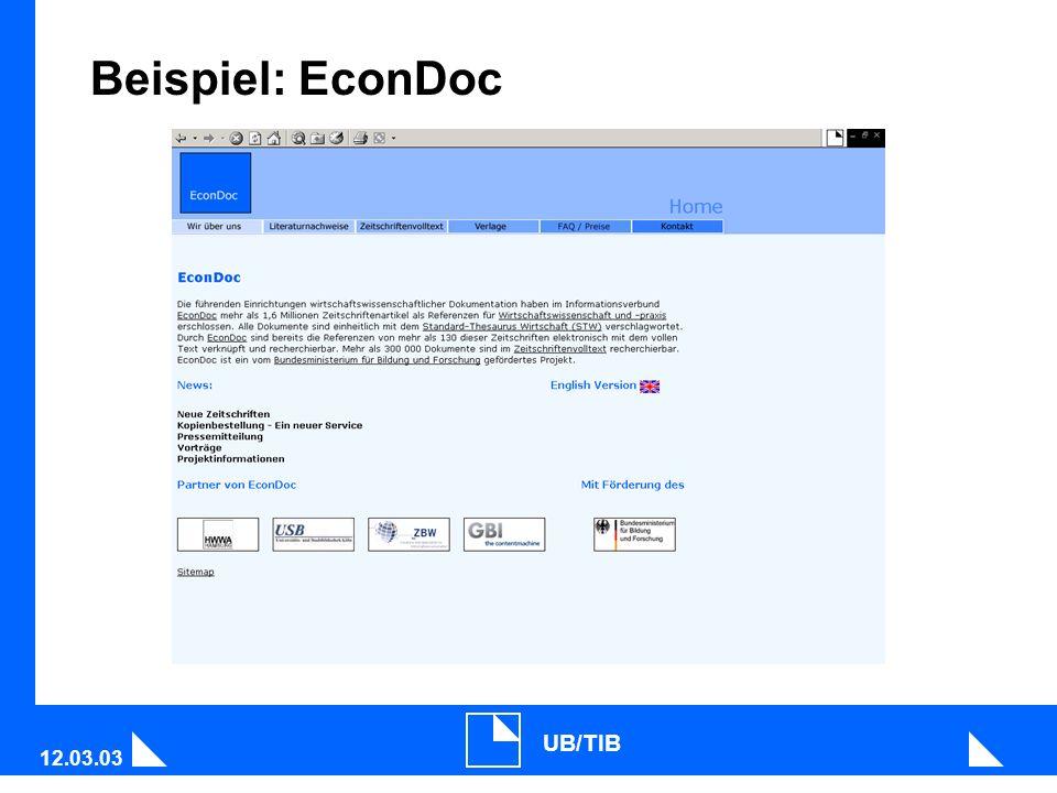 12.03.03 UB/TIB Beispiel: EconDoc