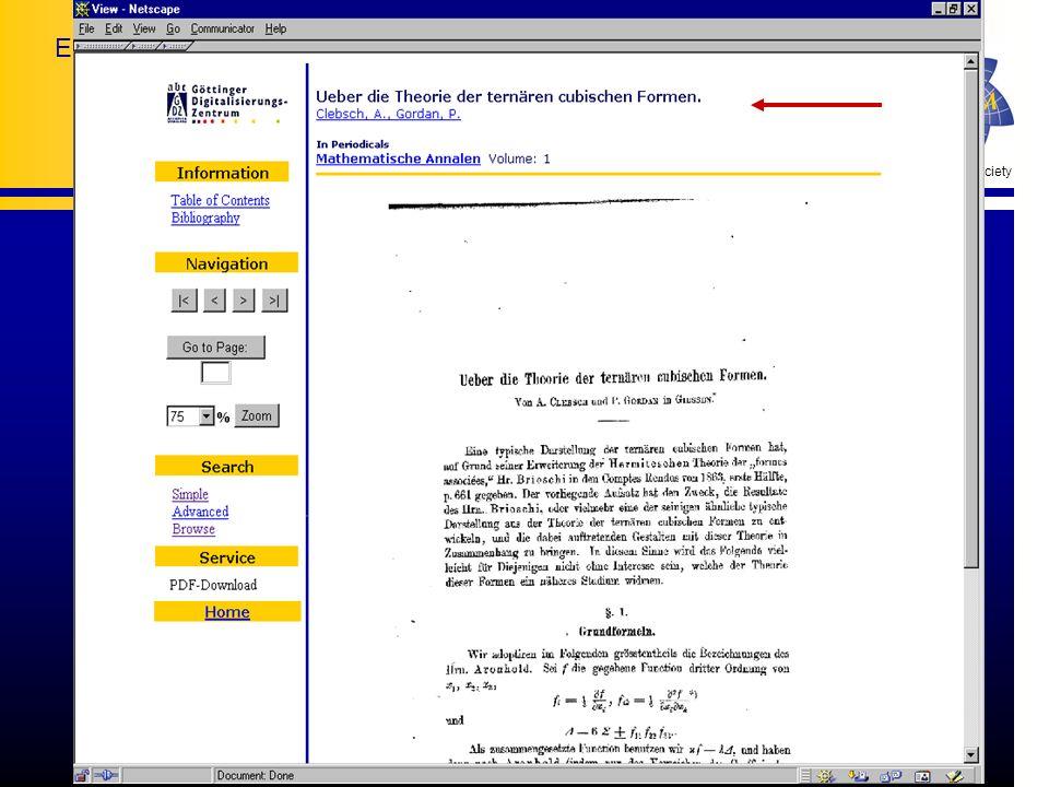 The European Mathematical Society European Mathematical Information Service