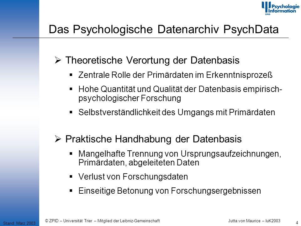 © ZPID – Universität Trier – Mitglied der Leibniz-Gemeinschaft Jutta von Maurice – IuK2003 5 Das Psychologische Datenarchiv PsychData Stand: März 2003 Deutsche Forschungsgemeinschaft (DFG) Regeln zur Sicherung guter wissenschaftlicher Praxis 1998 Primärdaten...