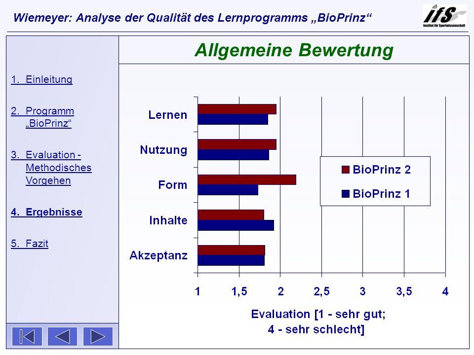 1.Einleitung 2.Programm BioPrinz 3.Evaluation - Methodisches Vorgehen 4.Ergebnisse 5.Fazit Allgemeine Bewertung Wiemeyer: Analyse der Qualität des Ler