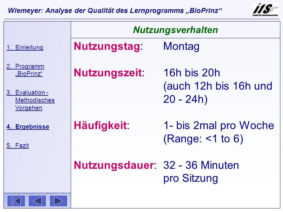 Nutzungstag: Montag Nutzungszeit: 16h bis 20h (auch 12h bis 16h und 20 - 24h) Häufigkeit: 1- bis 2mal pro Woche (Range: <1 to 6) Nutzungsdauer:32 - 36