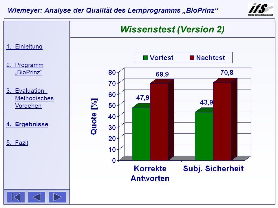 1.Einleitung 2.Programm BioPrinz 3.Evaluation - Methodisches Vorgehen 4.Ergebnisse 5.Fazit Wissenstest (Version 2) Wiemeyer: Analyse der Qualität des